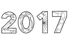 2017 year black and white. Vector 2017 year black and white Stock Photos