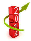 Year 2014 blocks tower and arrow growth up. Year 2014 red blocks tower and green arrow growth up. future success concept 3d render illustration Royalty Free Stock Images