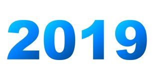 Year 2019 - blue gradient, isolated numbers - vector. Illustration royalty free illustration