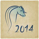 Year of blue horse 2014 background. Vector illustration Stock Images