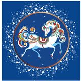 Year of the blue horse. 2014 year of the decorative blue horse Royalty Free Stock Photos