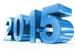 Year 2015 blue metal. 3d numbers isolated Stock Photography