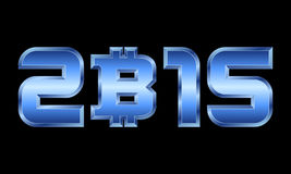 Year 2015, blue metal numbers with bitcoin currency symbol Royalty Free Stock Images
