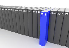 Year books - 2015. 3D render illustration - year books, 2015 stands out Stock Image
