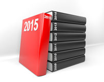 Year books - 2015. 3D render illustration - year books, 2015 stands out Stock Photo