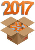 2017 year box. Illustration of brown box with 2017 colorful text Stock Images