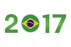 Year 2017 with Brazil Flag. New Year 2017 with Brazil Flag isolated on White Background - Vector Illustration Stock Photography
