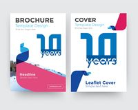 10 year brochure flyer design template. With abstract photo background, minimalist trend business corporate roll up or annual report Stock Photos