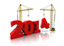 2014 year building. 3d illustration of two cranes building new year 2014 sign Royalty Free Stock Images