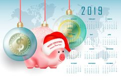 2019 year business calendar with eastern chinese symbol pig and world currencies in bubbles on red ribbons on world map background vector illustration