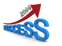Year 2014 business success. Concept arrow pointing up with success Royalty Free Stock Images