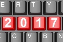 Year 2017 button on modern computer keyboard. Image with hi-res rendered artwork that could be used for any graphic design Stock Photos