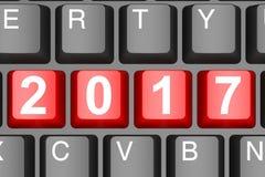 Year 2017 button on modern computer keyboard Stock Photos