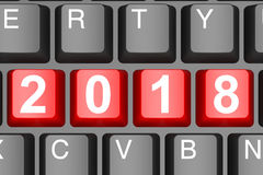 Year 2018 button on modern computer keyboard Royalty Free Stock Photo