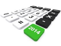 Year 2014 calculator. 3d illustration of calculator with green 2014 button, taxation concept stock illustration