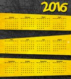 2016 year calendar on the abstract dark background with yellow. Lines and stripes. Vector illustration vector illustration