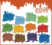 2014 year calendar. With abstract drops (week starts on Sunday Royalty Free Stock Photo