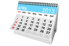 Calendar April 2013. 2013 year calendar. April calendar on a white background Royalty Free Stock Images