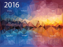 2016 year calendar. For business wall calendar and business card on abstract polygonal background Royalty Free Stock Photos