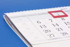 2015 year calendar.Calendar with red mark on framed date 1 Royalty Free Stock Image