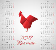 2017 year calendar with chinese symbol Red Rooster in Origami Style Royalty Free Stock Photography