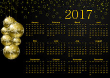 2017 year calendar. With christmas balls and snowflakes Royalty Free Stock Image