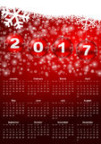 2017 year calendar. With christmas balls and snowflakes Royalty Free Stock Photography