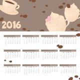 Year Calendar Coffee Lover Stock Image