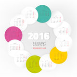 Year Calendar 2016. Colorful graphic design of an English Calendar 2016 template. Week starts from Monday. Vector illustration Stock Photo