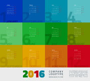 Year Calendar 2016. Colorful graphic design of an English Calendar 2016 template. Week starts from Monday. Vector illustration Royalty Free Stock Images