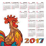 2017 year calendar with colorful rooster. 2017 year calendar with Chinese symbol of the year - rooster, vector illustration Stock Photography