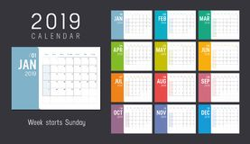 Year 2019 calendar - vector template. Year 2019 colorful calendar, weeks start Sunday - Vector template royalty free illustration
