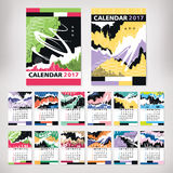 2017 year calendar with contemporary style art. Vector illustration royalty free illustration