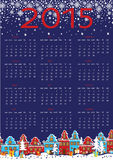 2015 year calendar.Cute little town in winter. Happy New year 2015 celebration calendar. Cute little town in winter night.Houses in the Dutch style. Snowflakes Royalty Free Stock Image
