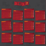2017 Year Calendar on dark background. Smartly grouped and layered. Free font used Amaranth SIL Open Font License v1.10 Royalty Free Stock Photos