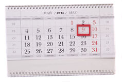 2015 year calendar with the date of May 9 Royalty Free Stock Photos