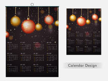 2017 Year Calendar design. 2017 Year, Annual Calendar Planner design decorated with glossy hanging Xmas Balls Royalty Free Stock Photography