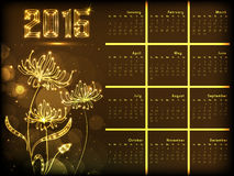 2015 Year calendar design concept. Yealy 2015 calendar with shiny creative flowers on brown background Stock Images