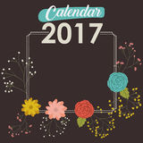 2017 year calendar design. 2017 year frame calendar flowers floral garden planner month day icon. Colorful and Flat design. Vector illustration Stock Image