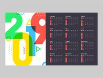 Year 2019, Calendar Design. 12 month calendar design for 2019 year Royalty Free Illustration