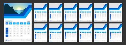 Year 2019, Calendar Design. 12 month calendar design for 2019 year Vector Illustration