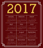 2017 year calendar design. 2017 year calendar planner month day frame icon. Colorful and Flat design. Vector illustration Stock Image