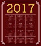 2017 year calendar design Stock Image