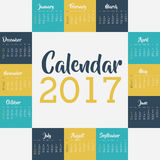 2017 year calendar design. 2017 year calendar planner month day frame icon. Colorful and Flat design. Vector illustration Royalty Free Stock Images