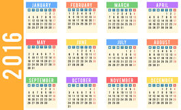 Year 2016 calendar. Design in sticky notes style Royalty Free Stock Photo