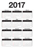 Year 2017 Calendar  design template. Simple and clean design Stock Photography