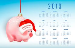 2019 year calendar with eastern chinese symbol. Christmas tree toy or bubble pig on red ribbon. Santa Claus hat with greetings Mer royalty free illustration