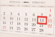 2015 year calendar. February calendar with red mark on 14 Februa Stock Photos