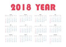 Year 2018 calendar Stock Image