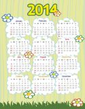 2014 year calendar. With flowers (week starts on Sunday Stock Illustration